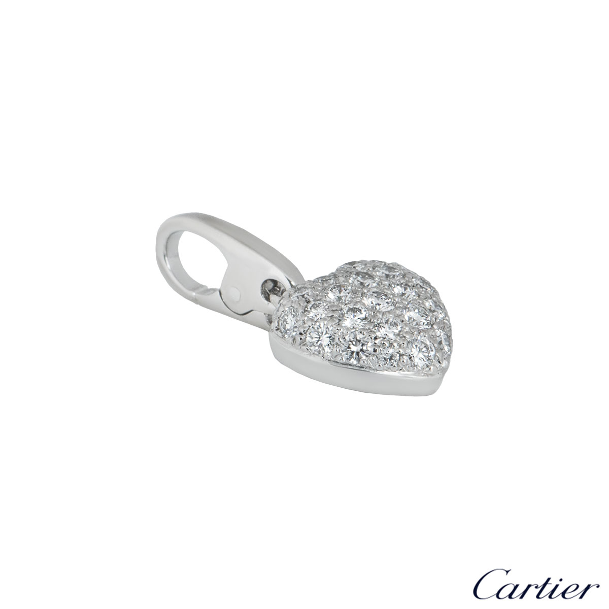 Cartier White Gold Pave Diamond Heart Charm
